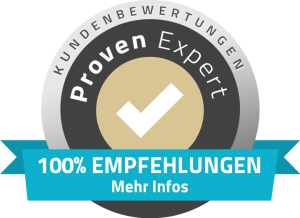 Siegel von Proven Expert - 100% Kundenempfehlung